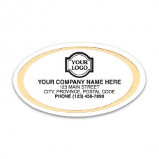 Gold Trim Oval White Labels (Imprinted/CC323)
